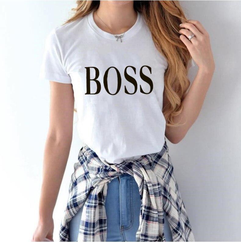 Fashion Womens T-shirt YES BOSS White Casual Tops T-shirt Harajuku Summer Clothing T-shirt Kawaii Top Tee T Shirt Female Girl