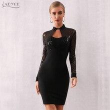 Adyce 2020 yeni sonbahar uzun kollu Bodycon bandaj elbise kadınlar seksi siyah pullu dantel kulübü ünlü akşam parti elbise Vestidos