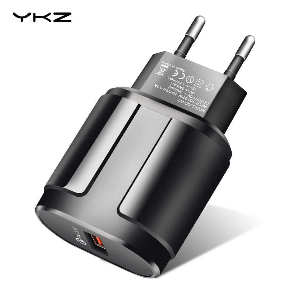 سريع تهمة 3.0 شاحن USB للهاتف المحمول YKZ 18W الاتحاد الأوروبي التوصيل جدار مهايئ شاحن QC3.0 ل فون سامسونج هواوي Xiaomi HTC