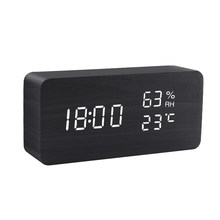Alarm Clock LED Digital Wooden USB/AAA Powered Table Watch With Temperature And Humidity Gauge Voice Control Snooze Desk Clocks