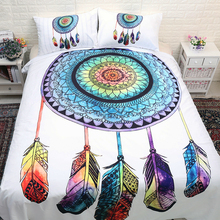 Bohemian Dreamcatcher Bedding Set Feathers Duvet Cover with Pillowcases Mandala Bedclothes 3pcs Home Textiles