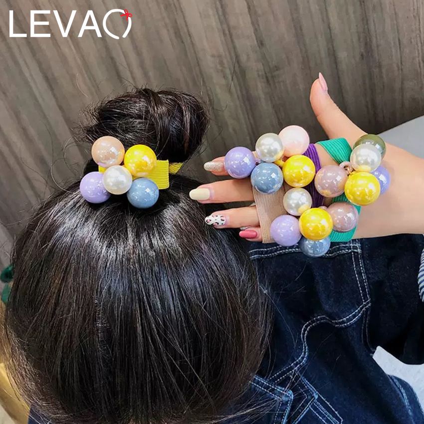 Levao Women Stretch Scrunchies Ponytail Head Band Colorful Big Pearl Elastic Hair Rope Rubber Hair Bands Girls Accessories