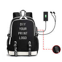 Customized Backpacks For Men And Women Students School Bag Charging Headset Hole Multifunction Men's DIY Logo Backpack Male