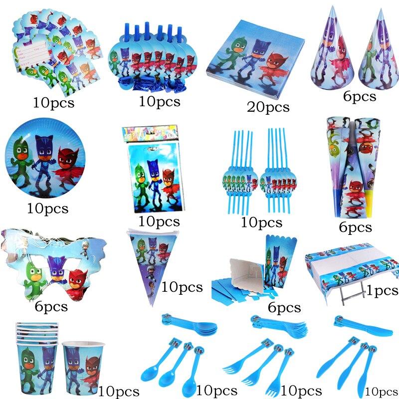16pcs/set Pj Mask Juguete Children's Birthday Party Decoration Holiday Party Supplies Catboy Owlette Gekko Disposable Tableware