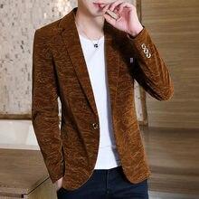 Мужские бархатные блейзеры куртка на одной пуговице приталенное