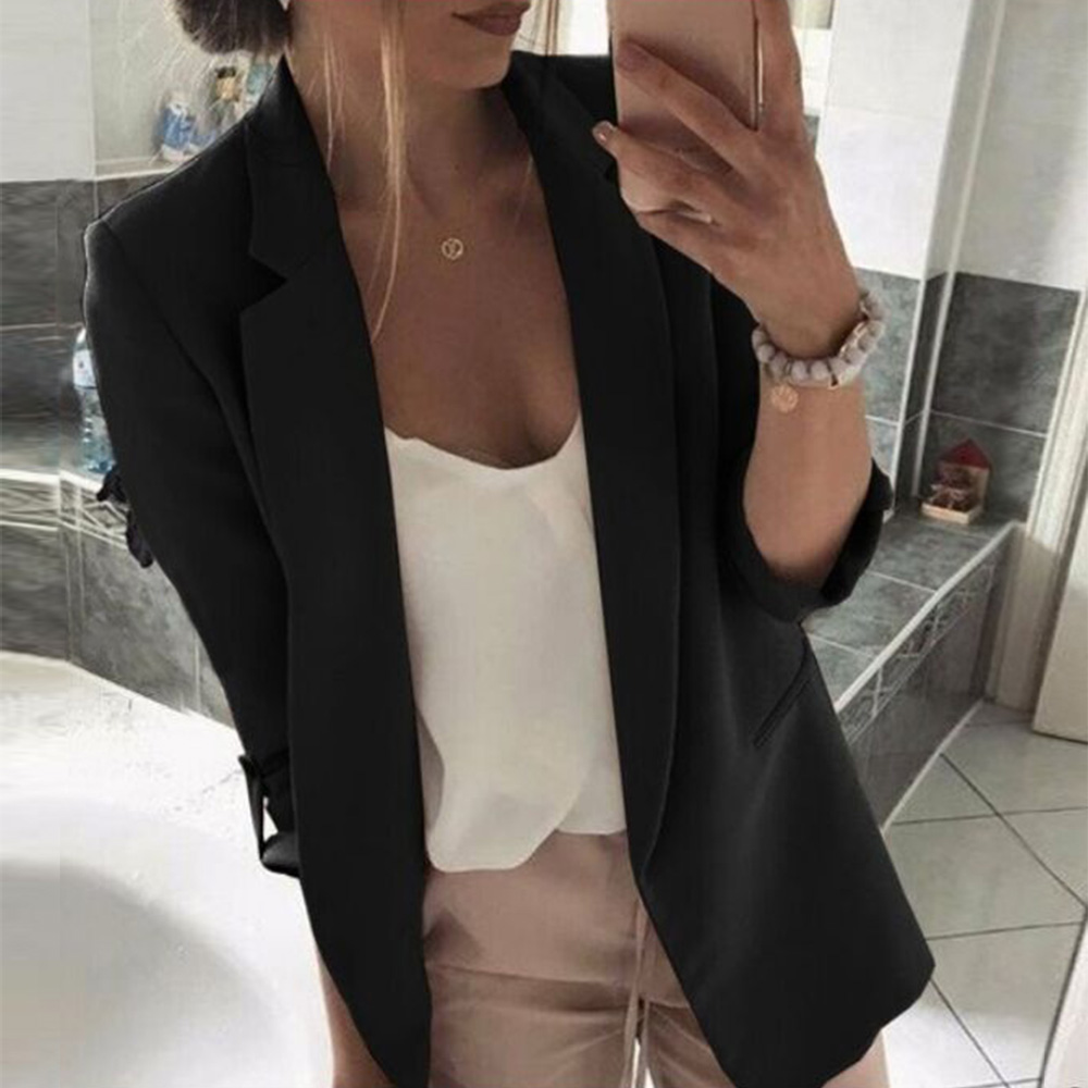 Women Blazers And Jackets Autumn Slim Women's Jacket Casual Notched Collar Long Sleeve Female Coat Solid Pockets Ladies Blazer