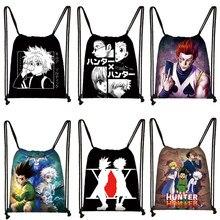 Anime hunterxhunter mochila caçador x caçador mulher cordão saco hxh killua zoldyck gon freecss chrollo menina saco de viagem de armazenamento