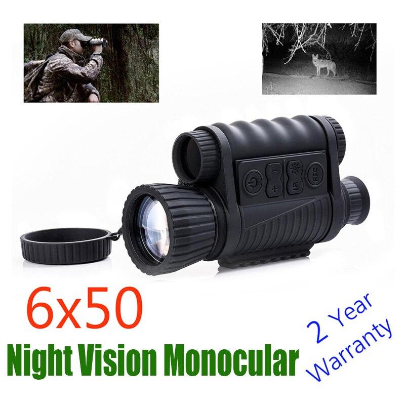 WG650 Noite Caça Digital Óptico Infravermelho 6X50 Imagem Telescópio Monocular de Visão Noturna 200M Faixa de Visão Noturna e vídeo
