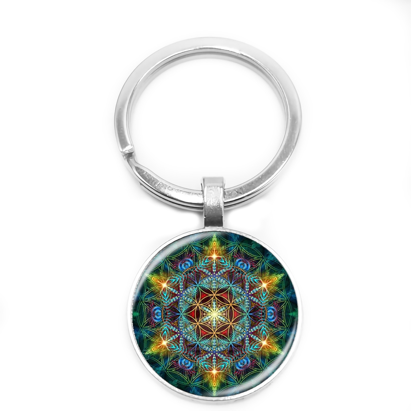 2019 New Multicolor Flower Life Keychain Glass Cabochon Om Mandala Yoga Jewlery Buddhist Gift Trend Retro in Key Chains from Jewelry Accessories