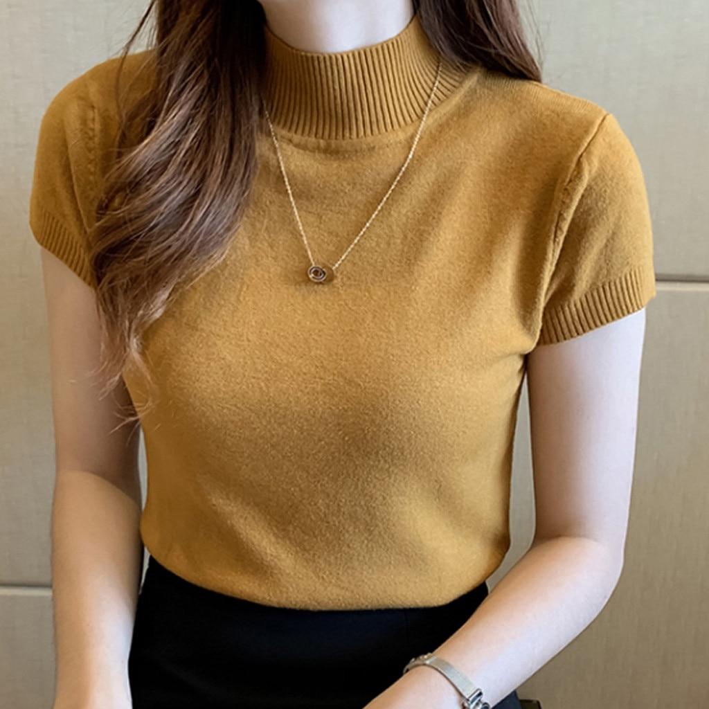 25# Female T-shirt Women Basic Classic Summer Loose Solid Short Sleeve Cotton Elegant Ladies Sexy Femme T-shirts Майка Женская 5