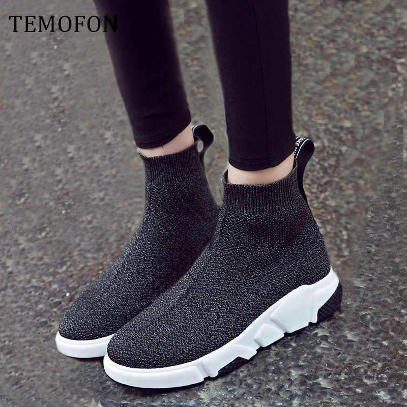 Ademend Enkellaars Vrouwen Sokken Schoenen Vrouwelijke Sneakers Casual Elasticiteit Wedge Platform Schoenen Herfst Zapatillas Mujer HVT429