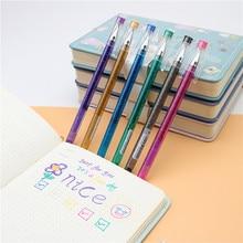 Cor flash caneta 6 cor/conjunto estudantes desenhar criativo gel canetas cores brilhantes diário marcador 0.7mm