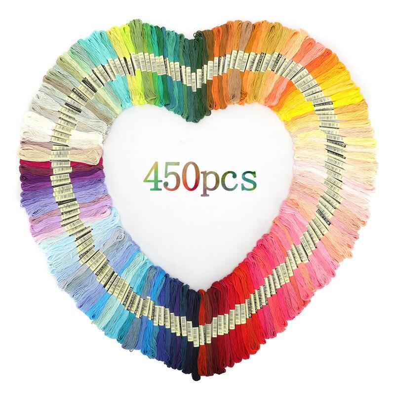 Multicolorido ponto cruz fios costura de algodão skeins fio bordado fio fio skein kit diy ferramenta de costura 50/100/150/200/250/450 peças