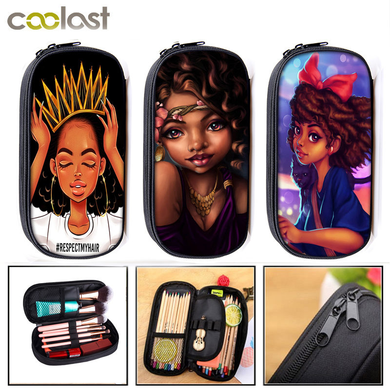 Afro Lady Girl Cosmetic Cases Brown Women Makeup Bag Africa Beauty Princess Pencil Bag Girls School Case Stationary Bags