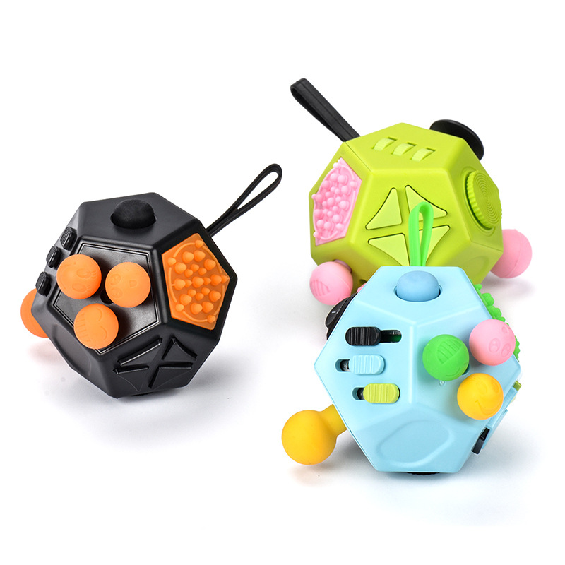The second generation fidget cube decompression cube relieves pressure box toys with 12 sides for play