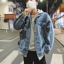 Autumn New Denim Jacket Men Fashion Washed Solid Color Casual Hooded Man Streetwear Hip Hop Loose Bomber