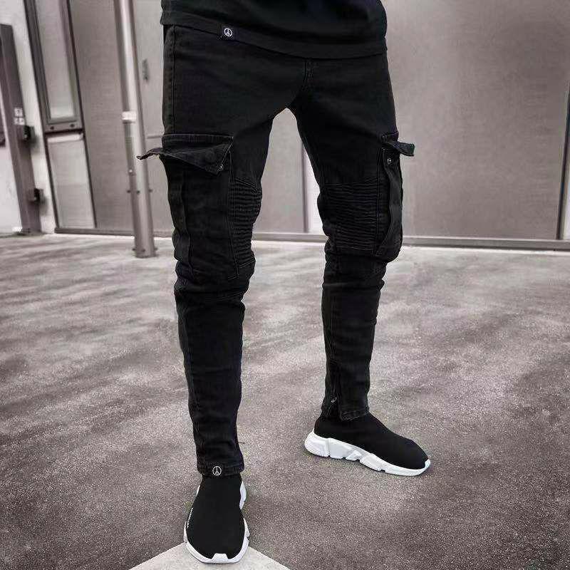 New Fashion Men Skinny Cargo Jeans Long Pant Denim Combat Biker Pocket Stretch Work Trousers Black