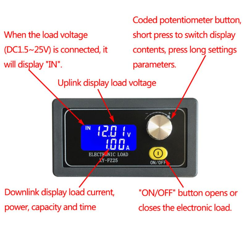 Constant Current Electronic Load Module Battery Discharge Capacity Tester