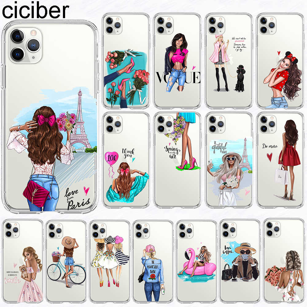 ciciber Fashion Phone Cases for iPhone 11 Pro XS Max X Case Funda for iPhone XR 7 8 6 6S Plus 5 SE Female Girl Silicon TPU Cover