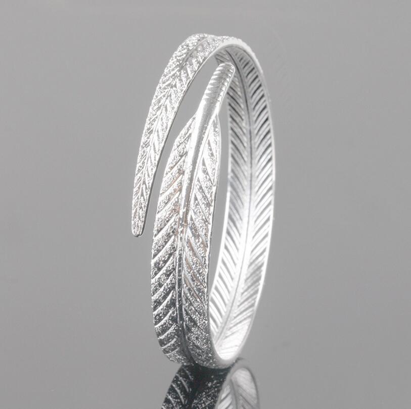 Unique Women 925 Sterling Silver Leaf Bangles Open Cuff Bracelets & Bangles Fine Jewelry pulseras