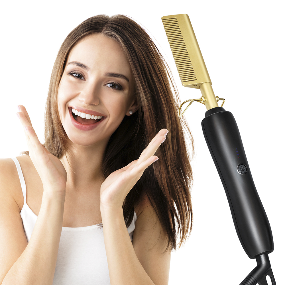 2020 New Hair Straightener Electric Comb Wand Hair Curling Irons Hair Curler Comb Hot Straightening Electric Comb Titanium Alloy