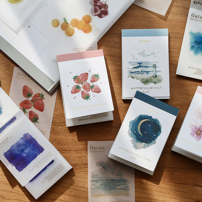 Watercolor Fashion Thick Deco Paper Pad 80 Sheets Fruit Flower Sky Sea 45mm*67.5mm Free Shipping
