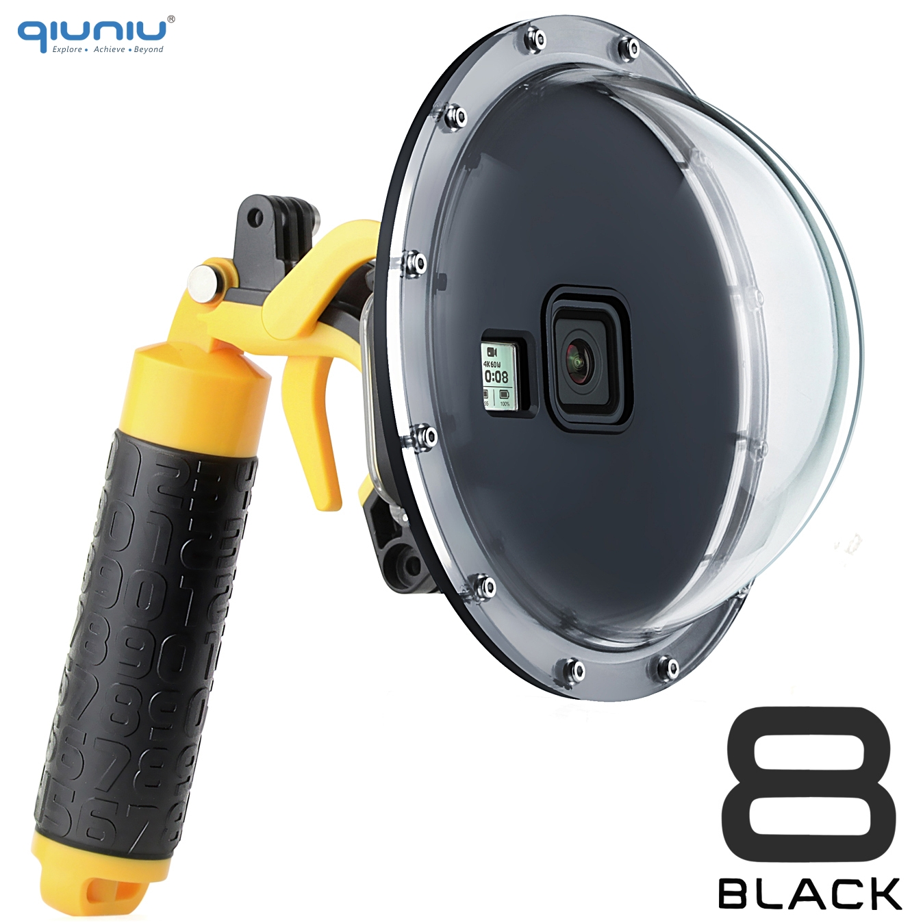 QIUNIU 6   Diving Dome Port Waterproof Housing Case Cover w  Pistol Trigger Float Grip for GoPro Hero 8 Black Go Pro 8 Accessory