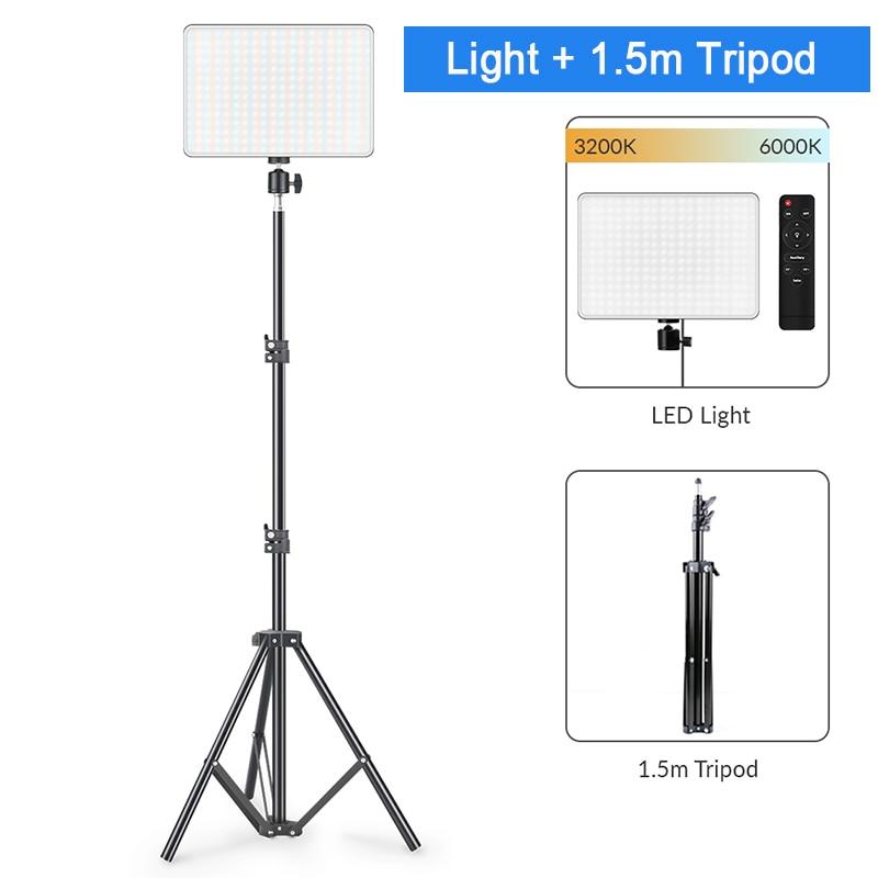 He7f27f72ca2042498f741f494adab635m Dimmable LED Video Light Panel EU Plug 2700k-5700k Photography Lighting For Live Stream Photo Studio Fill Lamp Three Color