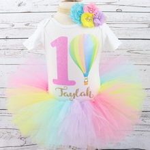 Customize Hot air balloon First Birthday baby girl Shirt Personalised name age any Character Baptism tutu set outfit cake smash(China)