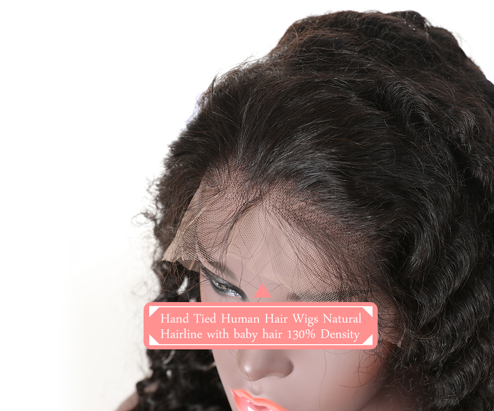 """He7f28c0f49bf4681a9e4cc87ec85350fc Ali Queen 13x6 Lace Front Wig Natural Color 8""""-26"""" High Ratio 8A Brazilian Deep Wave Curly Remy Human Hair Wigs For Women"""