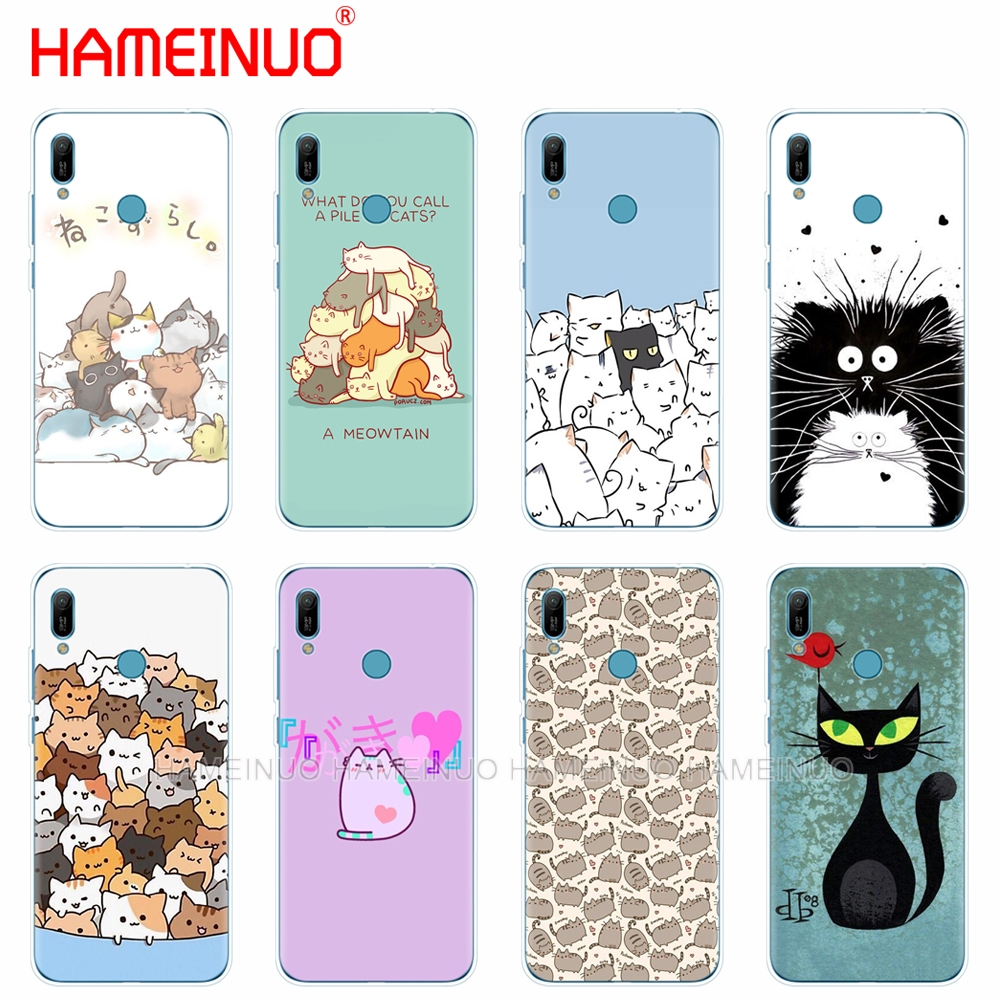 silicon phone cover <font><b>case</b></font> for <font><b>huawei</b></font> Y5 Y6 <font><b>Y7</b></font> Y9 PRO PRIME <font><b>2019</b></font> honor 8s 8a 20 LITE PRO 10i view 20 V20 Cute funny A Pile Of <font><b>Cats</b></font> image