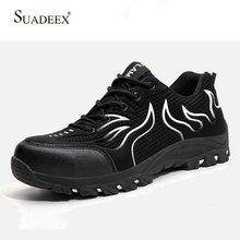 SUADEEX Men Safety Work Shoes Breathable Boots Working Anti-Smashing Steel Toe Shoes Construction Work Safety Boots Men Shoes safety shoes steel toe sole for men anti smashing work boots work safety protective shoes men shoes
