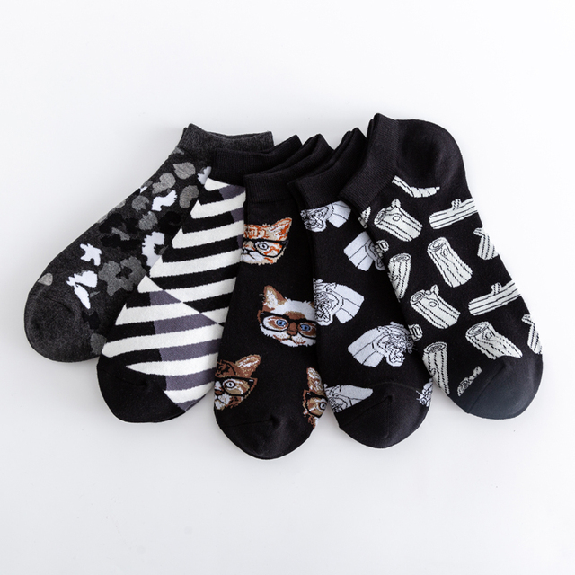 High Quality New 2020 Summer Men's Casual Novelty Ankle Socks Colorful Combed Cotton Puzzle Geometric Pattern Dress Boat Socks 4
