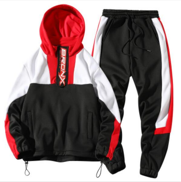 Men Casual  Hoodies Gym Walk Jogging Sport Tracksuit Coat Jacket Trousers Pants Suit Spring Fall Outfit 2PC