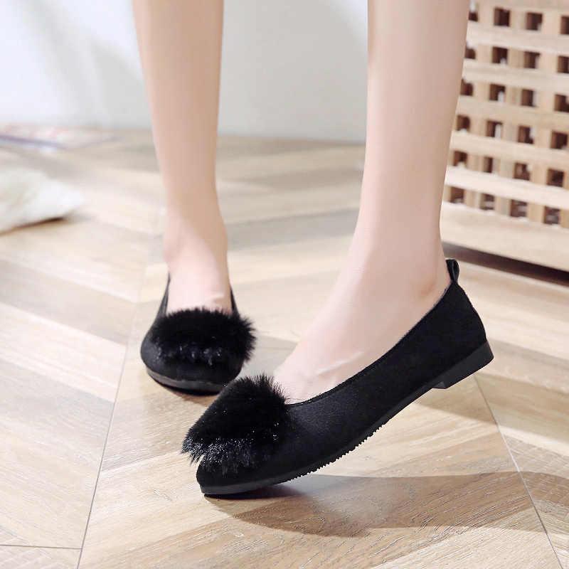 Bahar sonbahar taklit kürk üzerinde kayma düz ayakkabı kadın Flats Faux süet tekne ayakkabı kürk sığ ayakkabı bayanlar loafer'lar siyah gri n7759L