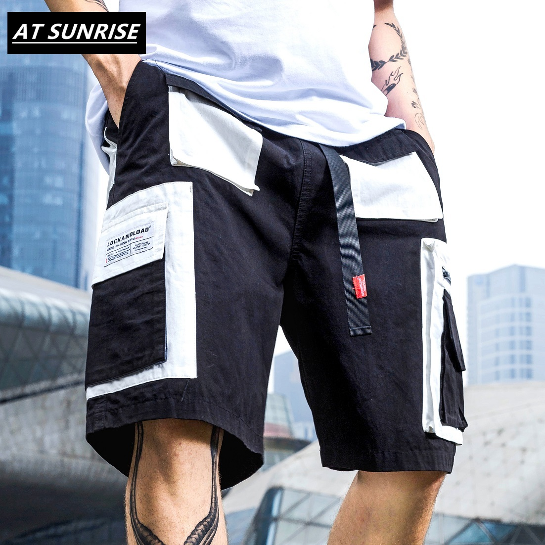 Summer 2020 Harajuku Cargo Shorts Hip Hop Short Streetwear Men Short Pocket Cotton Jogger Sweatpant Casual Black Patchwork