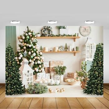 De Navidad fondo de árboles fotografía de invierno Navidad blanco vida fondo de sala decoraciones regalos campanas invierno accesorios de retrato