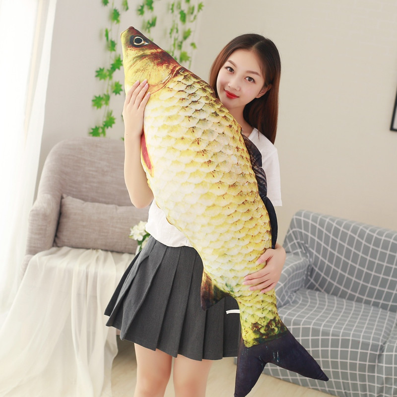 40-120cm 3D Simulation Carp Plush Toys Staffed Soft Animal Fish Plush Pillow Sofa Pillow Cushion Funny Gift Kids Toy