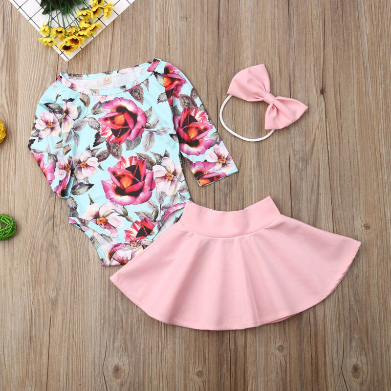Newborn Infant Baby Girl Jumpsuit Romper+Floral Print Skirts+Headbands Outfits