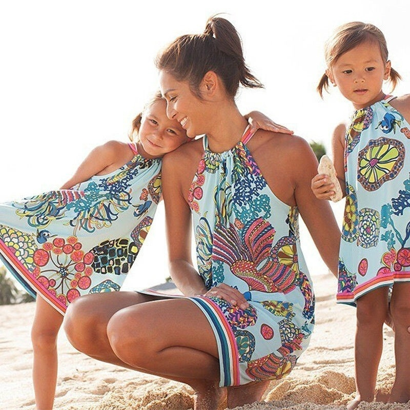 Sleeveless Mommy And Me Dresses Family Matching Mother Daughter Clothes Women Kids Girls Floral Beach Mini Dress Family Look