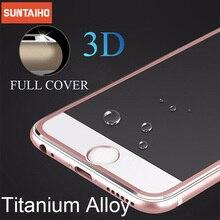 Protetor de tela de cobertura completa suntaiho para iphone 7plus 3d borda curvada liga metal moldura vidro temperado para iphone 7 8 6s 6 plus