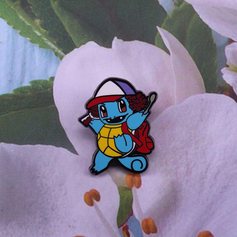 Stranger things Dustin kapelusz broszka śliczny Pokemon Squirtle pin nadprzyrodzone fani prezent pop mashup decor