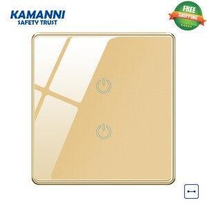 Image 1 - Kamanni interrupteur mural tactile/Off, 2 boutons, 3/4 voies, Standard américain, 1/2/1/2 boutons, noir/or/gris/vert