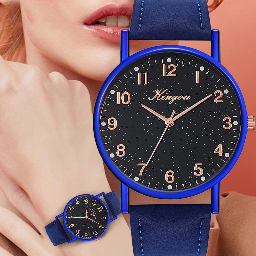 Kingou Luxury Quartz Watch Women Fashion Trend Leather Belt Starry Sky наручные часы Geneva Simple High Quality Belt Wrist Watc