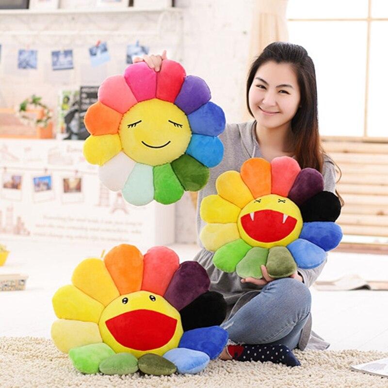 Colorful Flowers Creative Plush Mats Meditation Cushion Smileys Emoticons Floor Cushions Cojin Gato