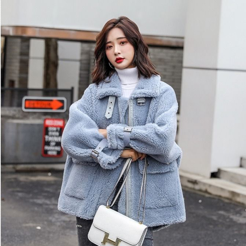 Faux Fur Coat Women 2019 Casual Furry Thick Warm Long Faux Lamb Fur Jacket  Loose Winter Coat Women Blue Fur Coat