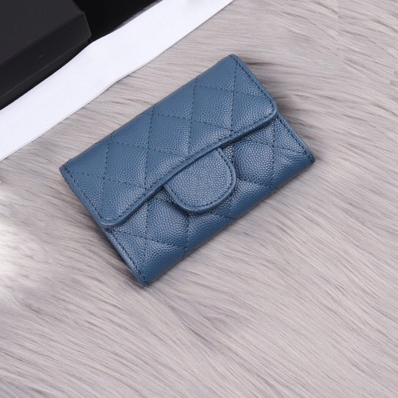 Women Classic Luxury Caviar Card Holder Top Quality Genuine Leather Designer Female Mini Short Brand Credit Card Case