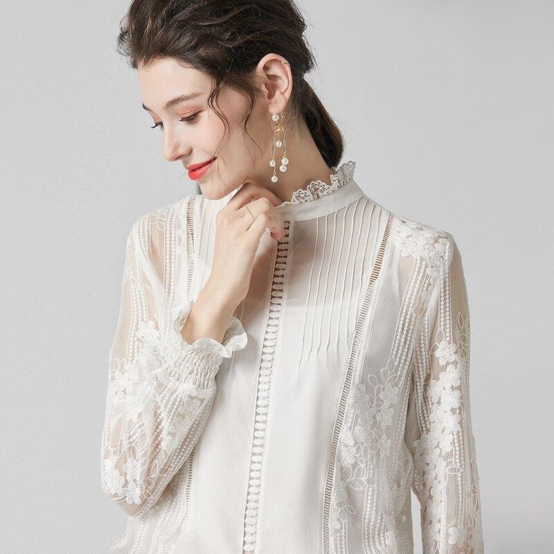 Blusa de seda floral de encaje blanco para mujeres de alta calidad de manga larga de talla grande casual sexy vestido de oficina camisas moda dropshipping - 3