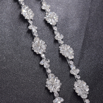 10yards/lot good quanlity shiny glass rhinestone crystal sewing trims decorations women clothings dress jewelry silver appliques