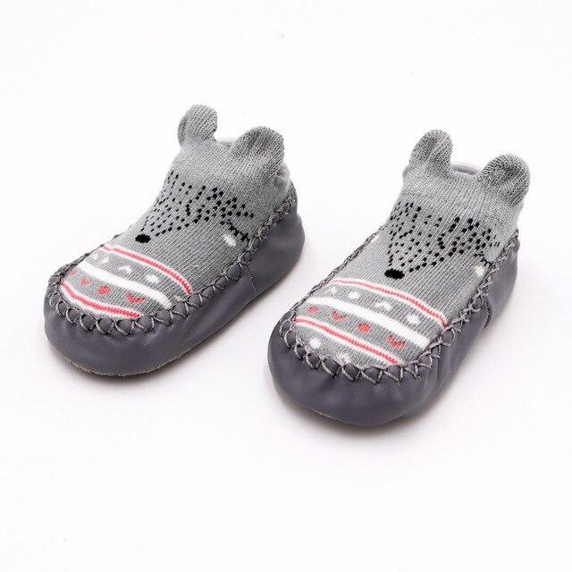 Г. Модные детские носочки с резиновой подошвой, носки для младенцев осенне-зимние детские носки-тапочки для новорожденных нескользящие носки с мягкой подошвой - Цвет: Gary bear